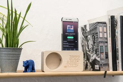 Jazz&mo' speaker (voor smartphones met luidspreker onderaan, geen iPhone8 of later)